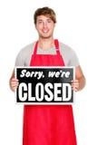 商业关闭了显示符号的责任人商店 库存照片