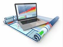 商业分析。 膝上型计算机、图形和绘制。 免版税库存图片