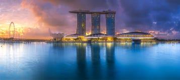 商业区和小游艇船坞海湾在新加坡 免版税库存图片