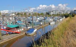 商业和私有小船在小游艇船坞 库存图片