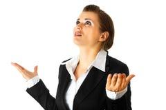 商业失败的查出的现代白人妇女 免版税库存照片