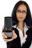 商业她的显示妇女的电话 免版税库存照片