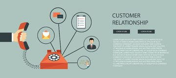 商业客户关心服务概念 象被设置联络我们,支持、帮助、电话和网站点击 平的传染媒介illustra 免版税库存图片