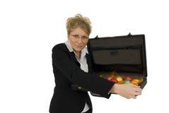 商业怂恿充分的手提箱妇女 库存图片