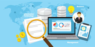 商业情报概念传染媒介与各种各样的项目和标志的背景例证 免版税库存照片