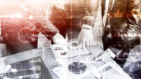 商业情报 图,图表,股票交易,投资仪表板,透明被弄脏的背景 免版税库存照片