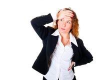 商业有头疼妇女 免版税图库摄影