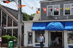 商业街在Provincetown,鳕鱼角在马萨诸塞 免版税库存照片