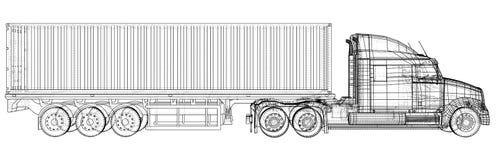 商业详细喂半卡车白色 抽象图画 导线框架 EPS10格式 传染媒介被创造3d 皇族释放例证