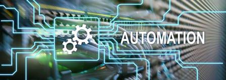 商业运作和创新技术的自动化在制造业中 互联网和技术概念在服务器上 库存例证