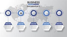 商业运作 与3个选择,圈子的时间安排infographics 边界月桂树离开橡木丝带模板向量 三步infographics每战略、工作流或者t 向量例证