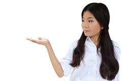商业递她的显示妇女的产品 免版税库存图片