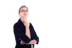 商业集中的新的认为的远见妇女 免版税库存图片
