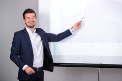 商业主持会议服务台查出在白色 图库摄影