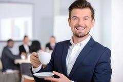 商业主持会议服务台查出在白色 库存照片