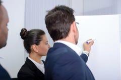 商业主持会议服务台查出在白色 免版税库存照片