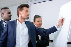 商业主持会议服务台查出在白色 免版税图库摄影