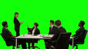 商业主管队谈论在无形的屏幕