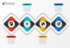 商业Infographics 与4步的时间安排 向量 免版税库存图片