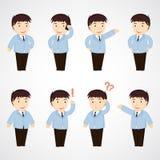 商人。套动画片办公室工作者以各种各样的姿势 免版税库存照片