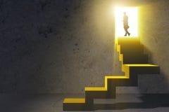 年轻商人上升的事业梯子 免版税图库摄影