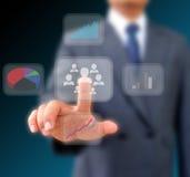 商人与企业网络一起使用 免版税库存图片