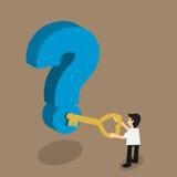 商人举行打开问题的钥匙, solvi的概念 库存图片