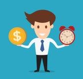 商人举行金钱和时钟 概念 免版税库存图片