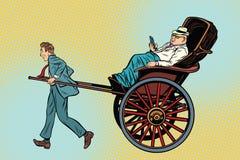 商人人力车运载一个富裕的客户 库存例证