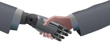 商人人的手和机器人机械手握手 免版税库存图片