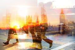 商人伦敦市 多重曝光图象 免版税库存图片