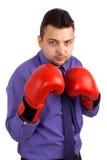 商人佩带的拳击手套 库存图片