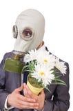商人佩带的防毒面具 库存图片