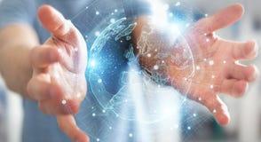 image photo : Businessman using Europe map globe network hologram 3D rendering