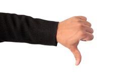 商人做标志的` s左手烦恶截去的pa 免版税库存图片