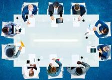 商人公司工作的办公室队专家Conce 免版税库存图片