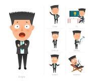 商人公司生活平的设计7set雇员 库存例证