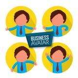 年轻商人具体化贴纸或标签  免版税库存图片