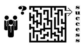 商人决定关于在迷宫的方式:企业政策制定概念 免版税库存照片