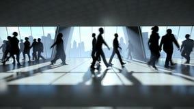 商人剪影走的通勤者,背面图都市风景 向量例证