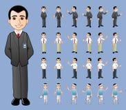 商人动画片传染媒介几个姿势体育 免版税图库摄影