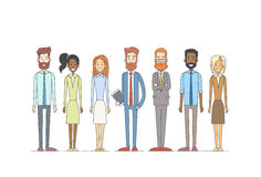 商人动画片字符集全长人妇女收藏 免版税库存照片