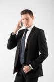 商人叫与手机 免版税图库摄影