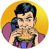 商人吃汉堡和谈话在电话流行艺术ava 皇族释放例证