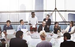商人合作会议介绍通信骗局 免版税图库摄影