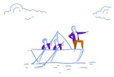 商人合作游泳纸小船主导的商人配合领导概念成功的方向剪影 向量例证