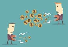 商人吸引与一块大磁铁的金钱,传染媒介illustrati 免版税库存照片