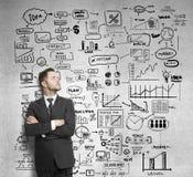 商人和图画企业概念 免版税库存照片