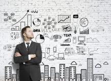 商人和图画企业概念 免版税图库摄影
