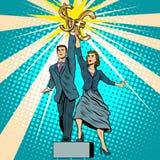 商人和女实业家有金钱的 向量例证